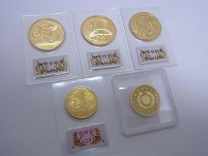 1万円金貨、5万円金貨、10万円金貨